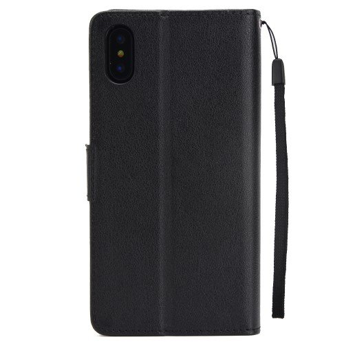 Wallet Stand PU Leather Phone Case with Strap for iPhone XS Max 6.5 inch - Black
