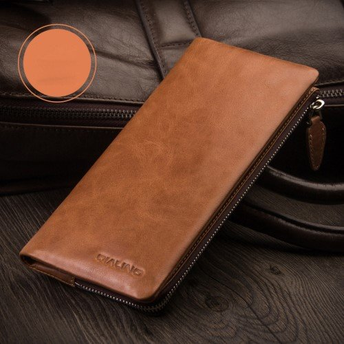 QIALINO Genuine Leather Wallet Pouch Cover for iPhone XS Max / 8 Plus / 7 Plus/7 Samsung Note7 Etc - Brown