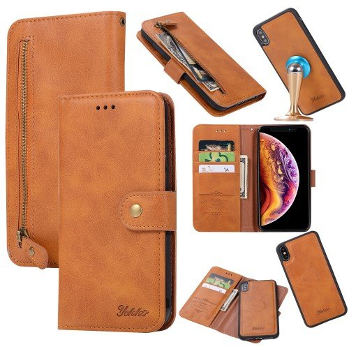 YEKKO PU Leather Wallet Cover iPhone XS Max - Orange