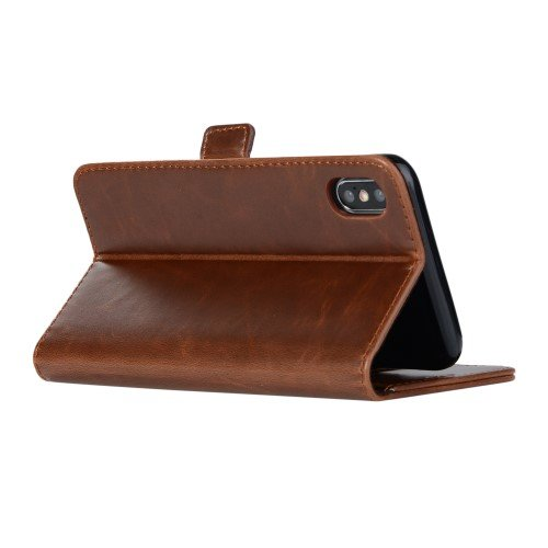 Crazy Horse Texture Leather iPhone XS Max Coffee