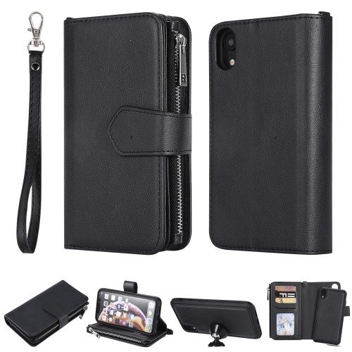 Detachable 2-in-1 TPU + Zipper Wallet Stand Leather Portable Case for iPhone XR 6.1 inch - Black