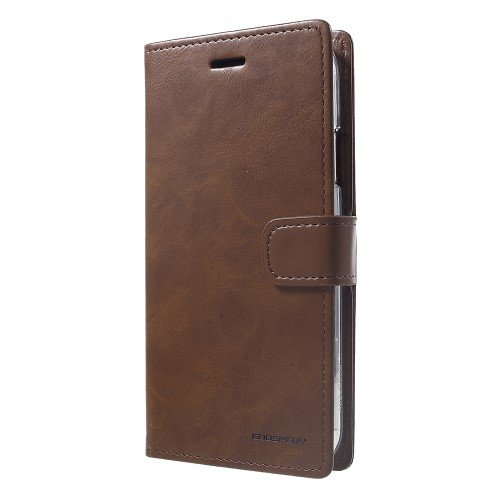 MERCURY GOOSPERY Blue Moon Flip Wallet Leather Stand Protection Cover Shell for iPhone XR 6.1 inch - Brown