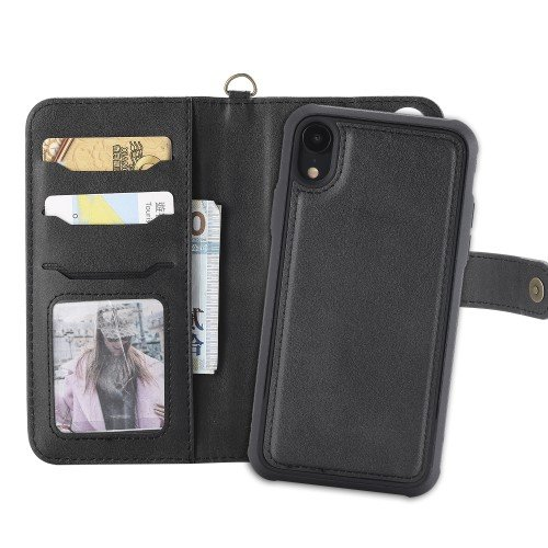 For iPhone XR 6.1 inch Case with Wallet, Magnetic Detachable 2-in-1, Stand Feature - Black