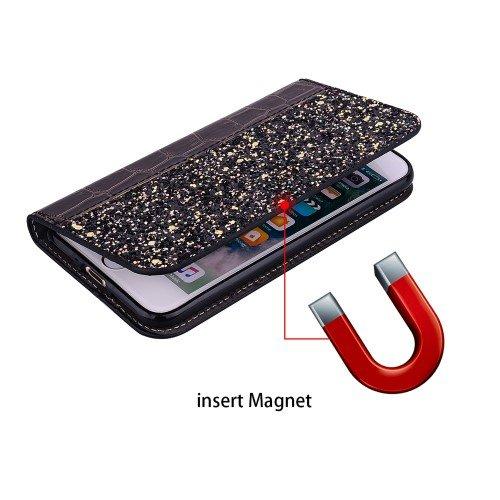 Crocodile Texture Glittery Sequins iPhone XS Max - Black