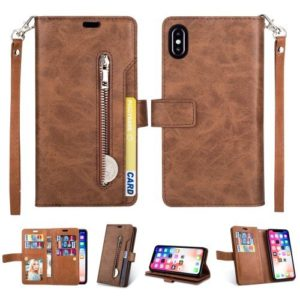 For iPhone XS Max Multi-slot Wallet Zippered Cover Protector - Brown