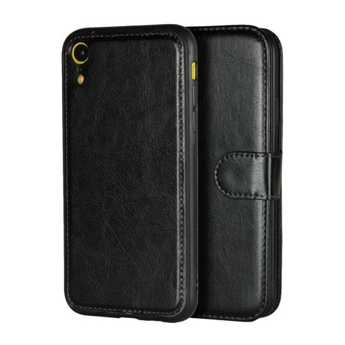Detachable 2-in-1 Crazy Horse Leather Wallet Shell + TPU Back Case for iPhone XR 6.1 inch - Black