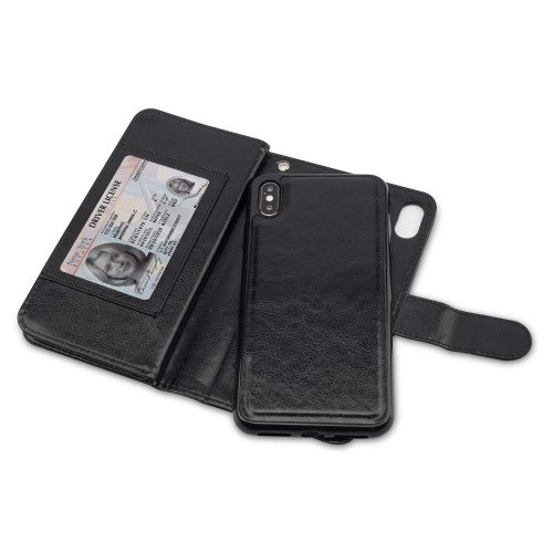 Magnetic Detachable PU Leather Stand Case with 9 Card Slots for iPhone Xs Max 6.5-inch - Black