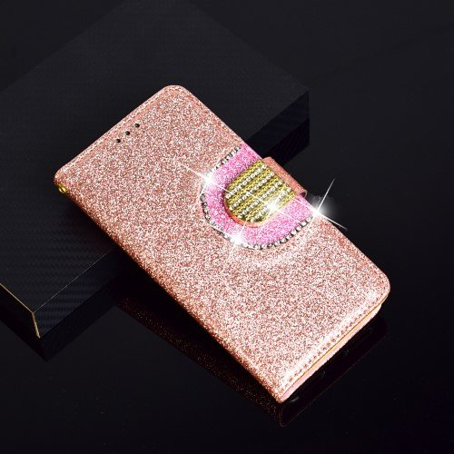 Glitter Powder Rhinestone Decoration Wallet Leather Phone with Mirror and 5 Card Holders for iPhone XS Max - Rose Gold