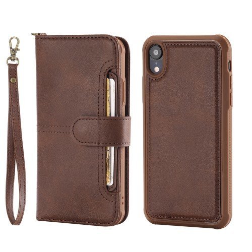 For iPhone XR 6.1 inch Cover Accessory with Wallet, Magnetic Detachable 2-in-1, Stand Feature - Coffee