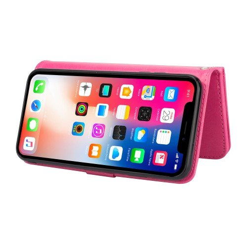 Magnetic Detachable PU Leather Shell 9 Card Slots for iPhone XR 6.1 inch - Rose